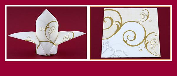 Papierservietten falten Schleppe für Hochzeit