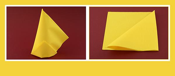 Papierservietten falten schnell gelb