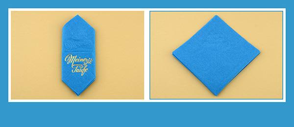 Papierservietten falten  Taufe Anleitung Bestecktasche beschriftet
