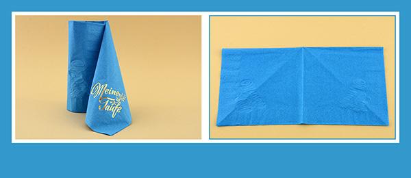 Papierservietten falten Taufe beschriftet