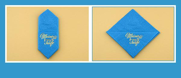 Papierservietten falten  Taufe Bestecktasche beschriftet