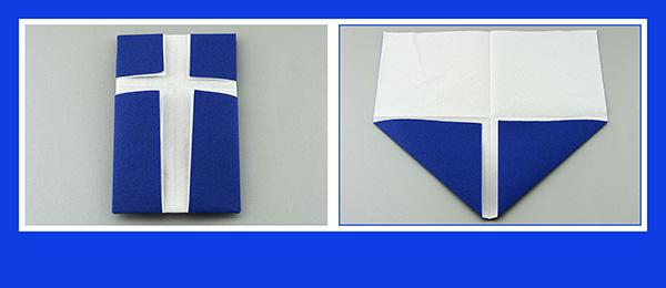 Papierservietten falten Taufe Kreuz