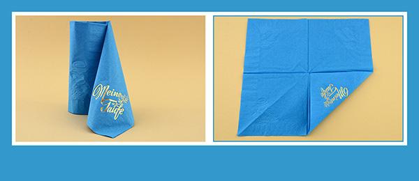 Papierservietten falten Taufe Schleppe beschriftet