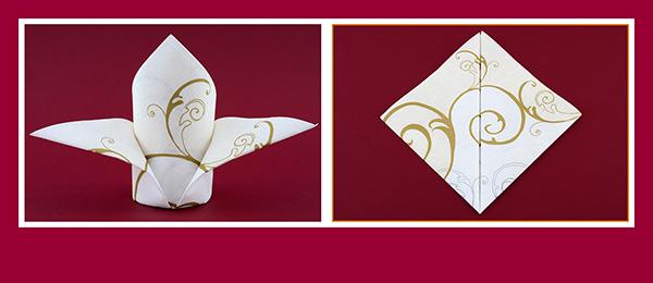 Papierservietten falten Tischdeko Hochzeit
