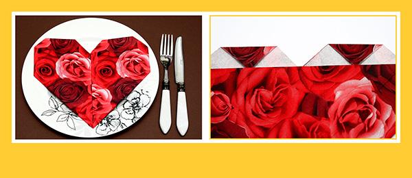 Papierservietten falten Valentinstag schnell und einfach