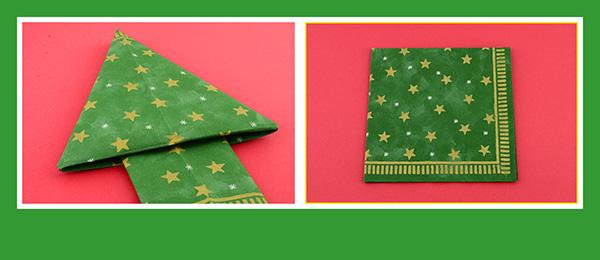 Papierservietten falten Weihnachtsbaum 1