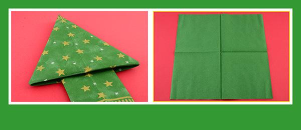 Papierservietten falten Weihnachtsbaum 2
