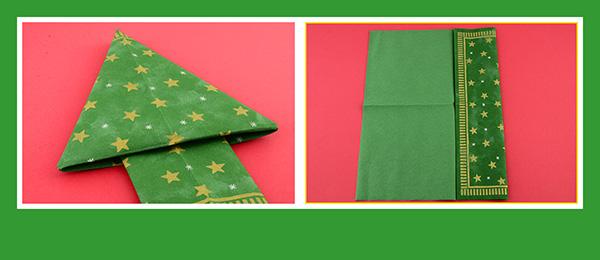 Papierservietten falten Weihnachtsbaum 3