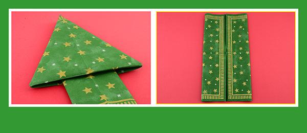 Papierservietten falten Weihnachtsbaum 4