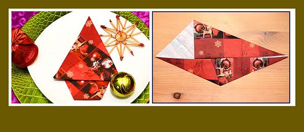Papierservietten falten Weihnachtsbaum einfach
