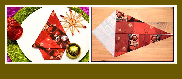 Papierservietten falten Weihnachtsbaum schnell