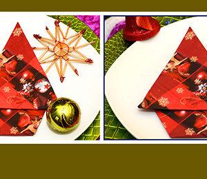 Papierservietten falten Weihnachtsbaum schnell und einfach