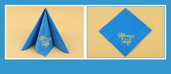 Papierservietten falten zur Taufe beschriftet Tafelspitz dreifach