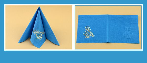 Papierservietten falten zur Taufe beschriftet Tafelspitz