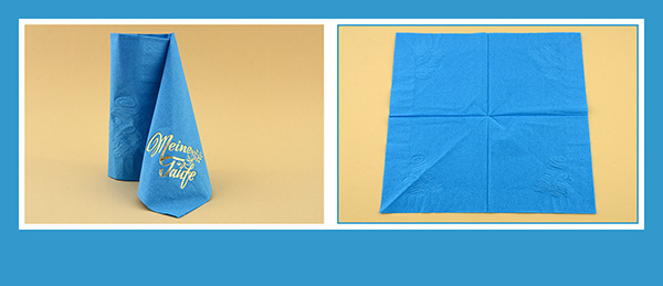 Papierservietten falten zur Taufe Schleppe beschriftet