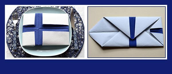 Papierservietten falten zwei Servietten