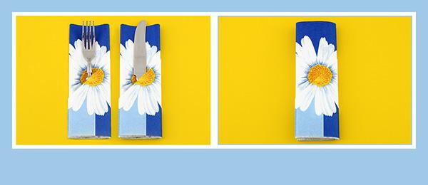 Servietten falten Anleitung Blume