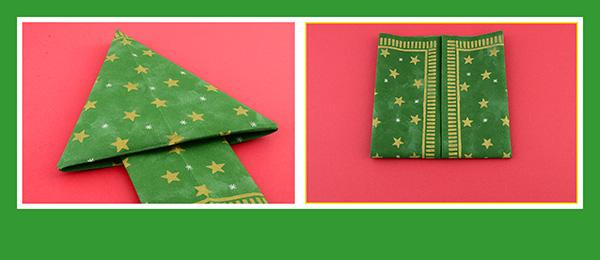 Servietten falten Anleitung Weihnachtsbaum mit Sternen