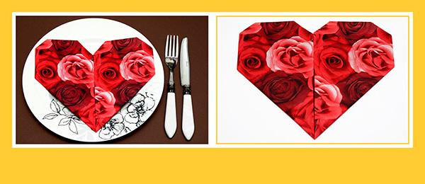 Servietten falten Herz zum Valentinstag 02