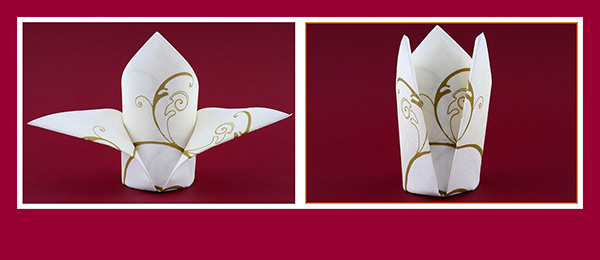 Servietten falten schön und einfach für Hochzeit