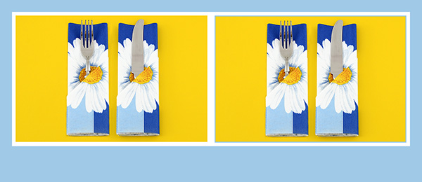 Papierservietten falten Bestecktasche Frühling Sommer